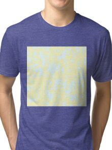 Artistic Pale Yellow and Blue Abstract Camo Tri-blend T-Shirt
