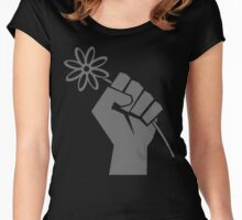 Flower Power Fist of Solidarity  Women's Fitted Scoop T-Shirt