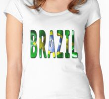 Brazil Word With Flag Texture Women's Fitted Scoop T-Shirt