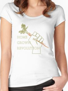 Home Grown revolution Fist of Solidarity  Women's Fitted Scoop T-Shirt