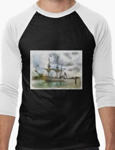 Tallship Watercolor Men's Baseball ¾ T-Shirt