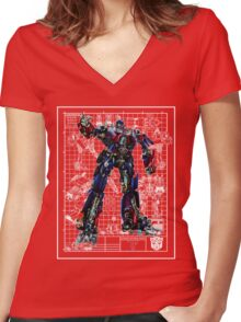 Movie Optimus Prime Blueprint Women's Fitted V-Neck T-Shirt