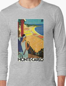 1920s Vintage Monte Carlo Tennis Travel Ad  Long Sleeve T-Shirt
