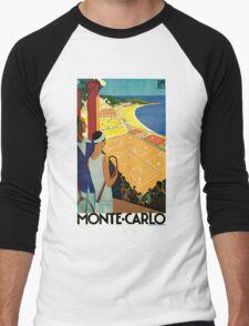 1920s Vintage Monte Carlo Tennis Travel Ad  Men's Baseball ¾ T-Shirt