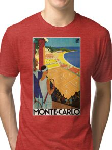 1920s Vintage Monte Carlo Tennis Travel Ad  Tri-blend T-Shirt