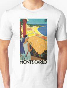 1920s Vintage Monte Carlo Tennis Travel Ad  Unisex T-Shirt