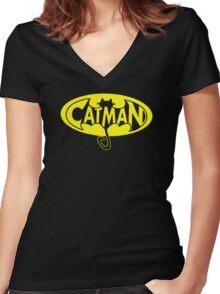 cat man Women's Fitted V-Neck T-Shirt