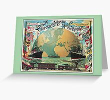 Vintage voyage around the world travel advertising Greeting Card