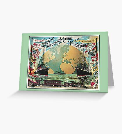 Vintage voyage around the world travel advertising Greeting Card