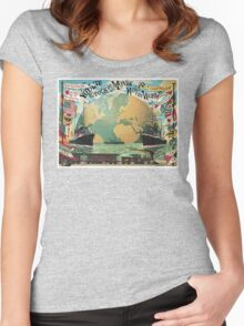 Vintage voyage around the world travel advertising Women's Fitted Scoop T-Shirt