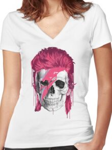 Bowie Skull Women's Fitted V-Neck T-Shirt