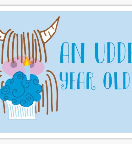 Highland Cow Birthday  Sticker
