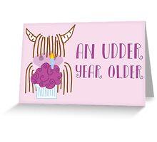 Highland Cow Birthday Pink Greeting Card