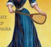Vintage state girl Nebraska, tennis Sticker
