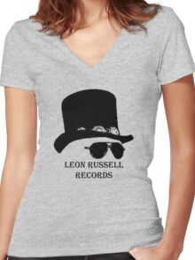 Leon Russell -3 Women's Fitted V-Neck T-Shirt