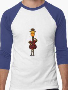 Cool Funny Giraffe with Electric Guitar Body Men's Baseball ¾ T-Shirt