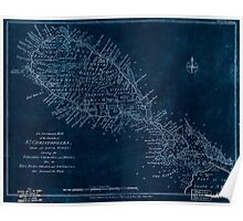 American Revolutionary War Era Maps 1750-1786 303 An accurate map of the island of St Christophers from an acutal survey shewing the parishes churches and Inverted Poster