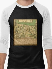 American Revolutionary War Era Maps 1750-1786 744 Plan of Fort William Henry and camp at Lake George Men's Baseball ¾ T-Shirt