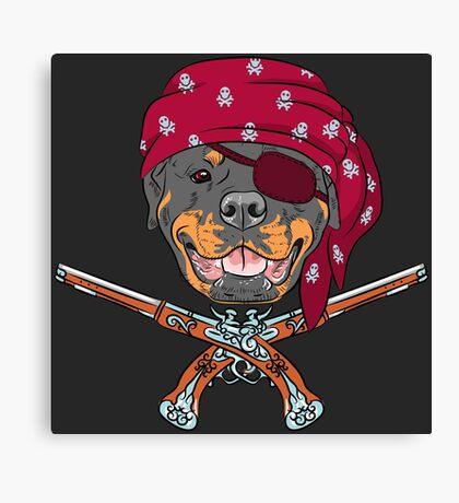 Dog Rottweiler Pirate  Canvas Print