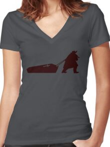 The D is silent Women's Fitted V-Neck T-Shirt