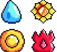 Pokemon Kanto Badges: Pixel Art Badge Set Sticker
