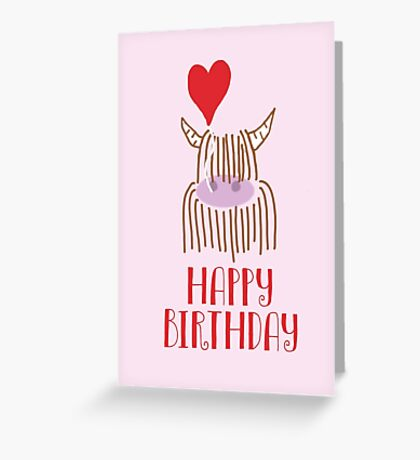 Highland Cow Happy Birthday Greeting Card