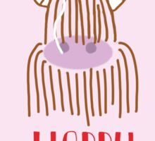 Highland Cow Happy Birthday Sticker