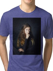 Cute young armenian girl posing in studio isolated on black Tri-blend T-Shirt