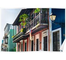 Old San Juan Street in Atmospheric Light Poster