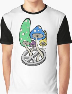 Mushrooms growing out of a peace symbol Graphic T-Shirt