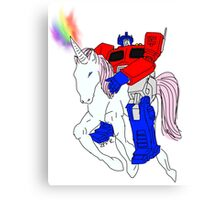 OptimusPrime Riding a unicorn (I do not own transformers) Canvas Print