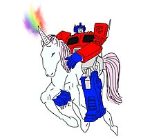 OptimusPrime Riding a unicorn (I do not own transformers) Photographic Print