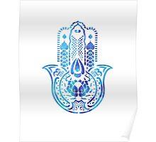 Hamsa Hand Hippie Blue Poster