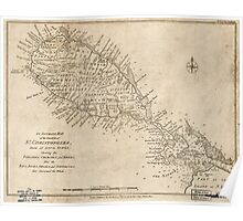 American Revolutionary War Era Maps 1750-1786 301 An accurate map of the island of St Christophers from an acutal survey shewing the parishes churches and Poster