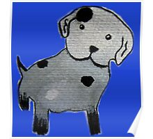 Spotted puppy watercolor painting Poster