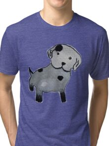 Spotted puppy watercolor painting Tri-blend T-Shirt