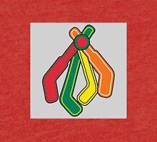Blackhawks Feathers as hockey sticks Tri-blend T-Shirt