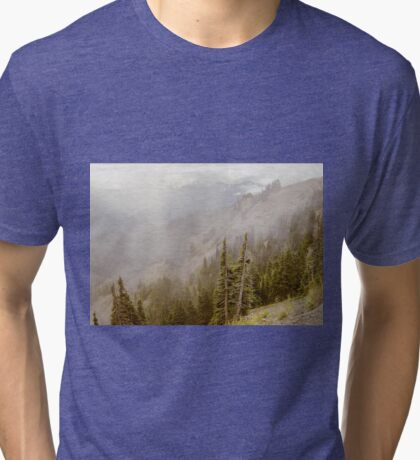 View from Hurricane Ridge with Low Clouds Tri-blend T-Shirt