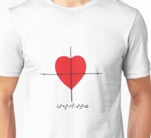 Heart as a mathematic function with the formula Unisex T-Shirt