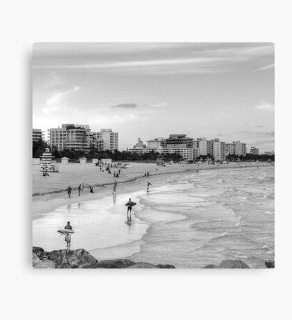 Surfers Monochrome  Canvas Print