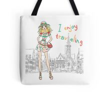 Beautiful fashion girl in Bruges Tote Bag