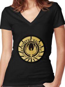 Battlestar Galactica Golden Logo Women's Fitted V-Neck T-Shirt