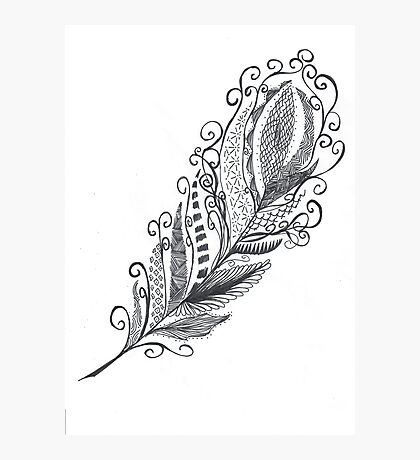 Feather Zentangle - Hand Drawn Photographic Print
