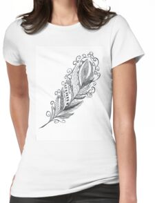Feather Zentangle - Hand Drawn Womens Fitted T-Shirt
