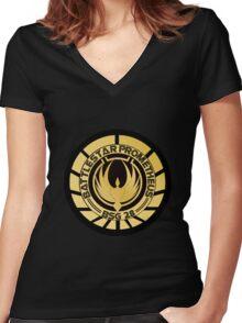 Battlestar Prometheus Golden Logo Women's Fitted V-Neck T-Shirt