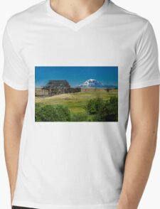 Falling Barn and Mt Adams Mens V-Neck T-Shirt
