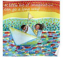 Watercolor of imaginative kids in paper boat  Poster