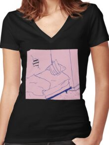 Teen Suicide AKA Julia Brown waste yrself Women's Fitted V-Neck T-Shirt
