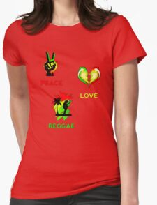 Peace, Love, Reggae Womens Fitted T-Shirt