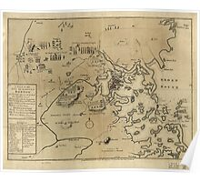 American Revolutionary War Era Maps 1750-1786 249 A plan of the town and harbour of Boston and the country adjacent with the road from Boston to Concord Poster
